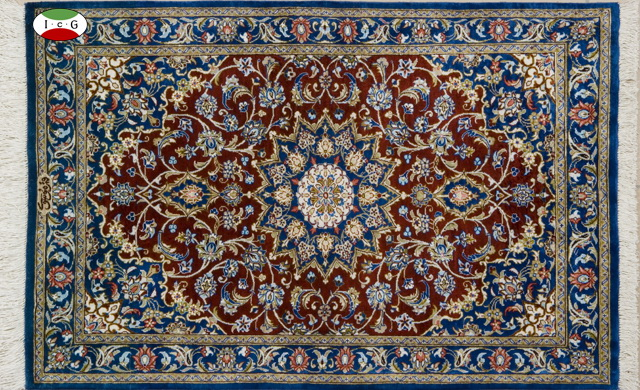 シルクペルシャ絨毯クム産 ムサビ工房、アラベスク模柄、手織りの技に表現できないものはありません。あなたの思いを糸に